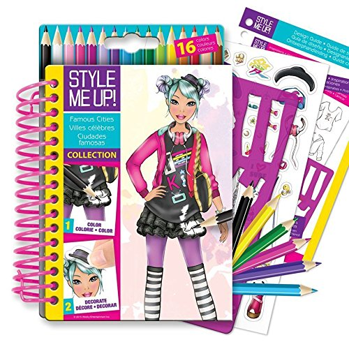(Style Me Up - Fashion Design Coloring Book for Girls, Set of Stencils, Pencils and Painting Book - SMU-1470)