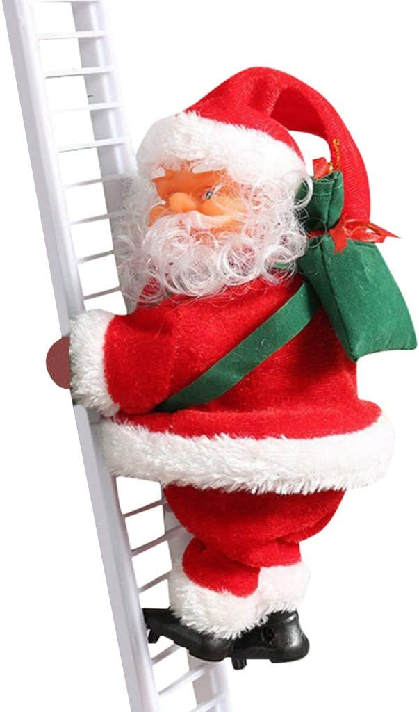 Climbing Ladder Santa Claus,Electric Decoration Christmas Plush Doll Toy Hanging Ornament Tree Indoor Outdoor A