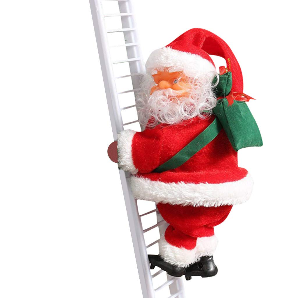 Funny Gifts for Kids Christmas Super Climbing Santa Plush Doll Toy Hanging Plush Ornament for Xmas Party Tree Door Wall Holiday Home Decor Infidev Electric Climbing Rope Ladder Santa Claus