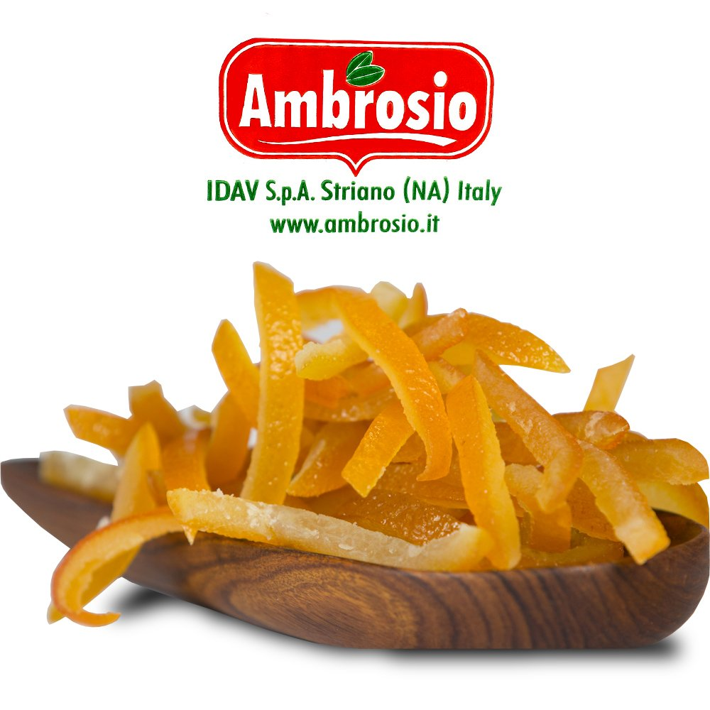Ambrosio Glace Orange Peel Strips - Hand-picked Italian Candied Citron for Baking - Kosher, Pareve Certification - 22 lb by Glace