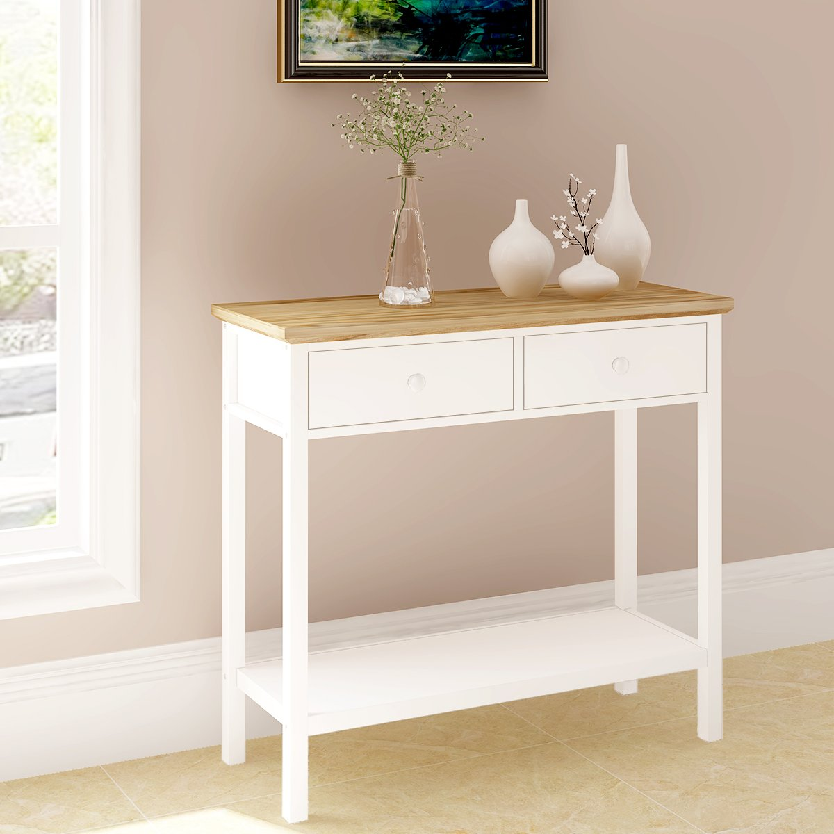 Keinode Console Table Modern White End Table Coffee Side Table with 2 Drawers and Bottom Shelf Dressing Table Desk Wooden Home Furniture for Living Room Bedroom Kitchen Hallway Lounge Office