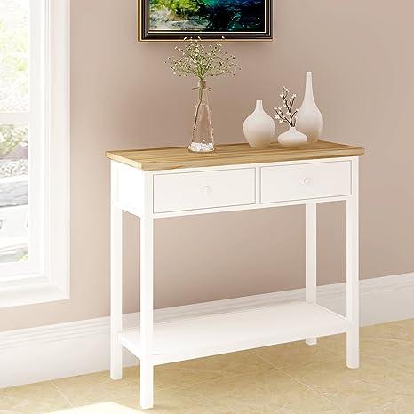 Keinode consolle moderna bianco tavolino tavolino da caffè con 2 ...