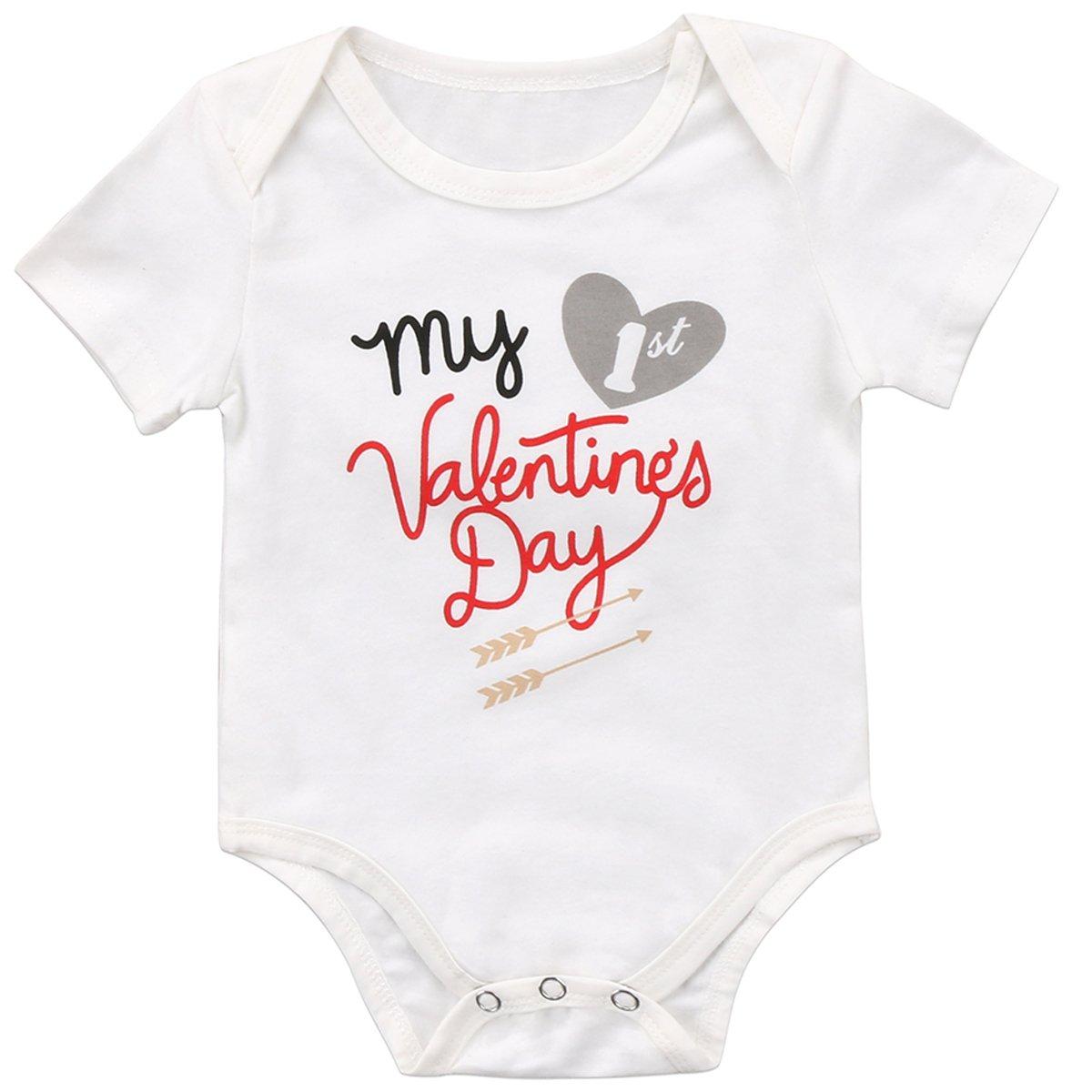 Annvivi Newborn Baby Boys Girls Clothes My 1st Valentine's Short Sleeve Romper Outfits