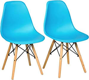Giantex DSW Dining Chairs, Pre Assembled Mid Century Style Wood Dining Chairs, Modern DSW Chair, Shell Lounge Plastic Side Chair Kitchen, Dining, Bedroom, Living Room, Set of 2, Blue