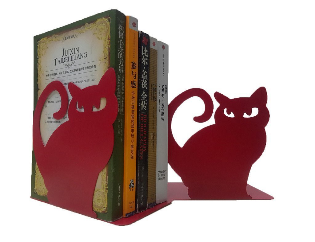 1 Pair Vivid Lovely Persian Cat Bookends for Shelves Cat Statue Book End Decorative Animal Metal Bookends (Black) Winterworm