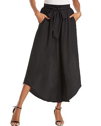 413b37dee1dfd ZANZEA Womens Cropped Palazzo Pants Wide Leg Lounge Pant Flowy Capri Trouser  Causal 01 Black S