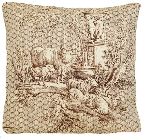 Marvic Textile French Toile Traditional Design Decorative Throw Pillow Case Brown Cows Pattern Cushion Cover Fabric Vintage Look Les -