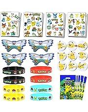 Pokemon-thema Verjaardagsfeestje voor kinderen - Polsbandjes, tatoeages, cadeautjes voor cadeautjes, insignes, maskers voor beloningen in de klas Carnaval-prijzen Set Geschenken voor kinderen Jongens Meisjes, 10 gasten dienen