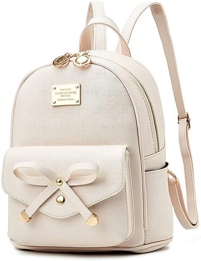 Fayland Women Teens Girls Leather Backpacks Purses Convertible Shoulder Bag Off-White