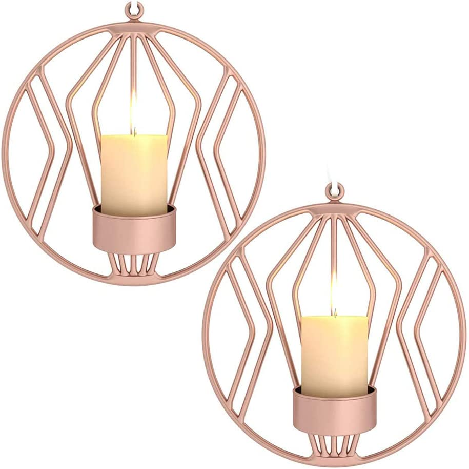 SZDAJAN Wall Mounted Candle Holders Set of 2 Decorative Hanging Wall Sconce Candle Holder Rustic Geometric Candlestick Holder Iron Round Shaped for Living Room (Rose Gold,A)