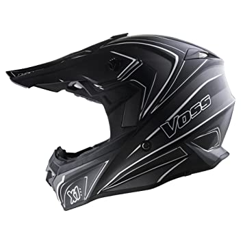 Voss X1 Pro Magneto Graphic Motocross Helmet with Quick Release - XS - Two Tone Stealth
