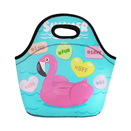 2746a16e0034 Amazon.com: Semtomn Lunch Bags Beach Pink Party Flamingo Pool Float ...