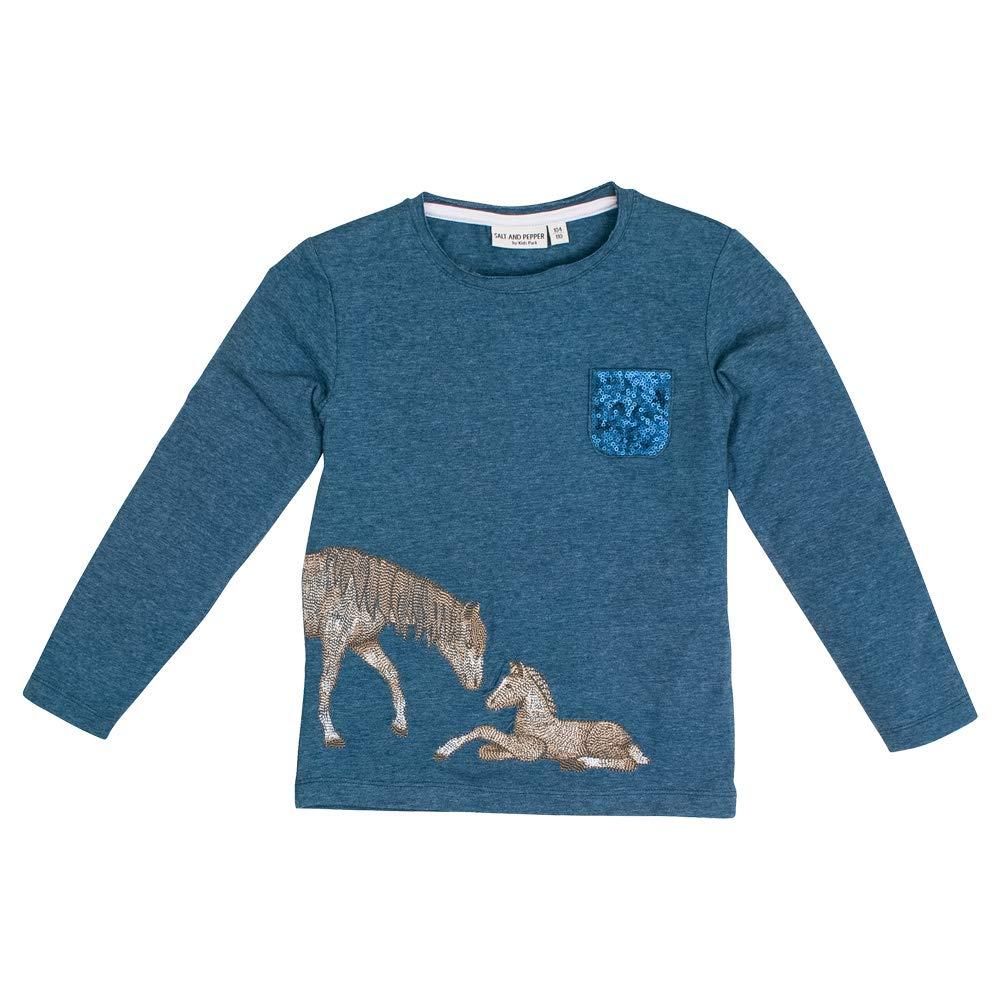 SALT AND PEPPER Langarmshirt Pferd Fohlen Stickerei Pailletten Jeans Blue