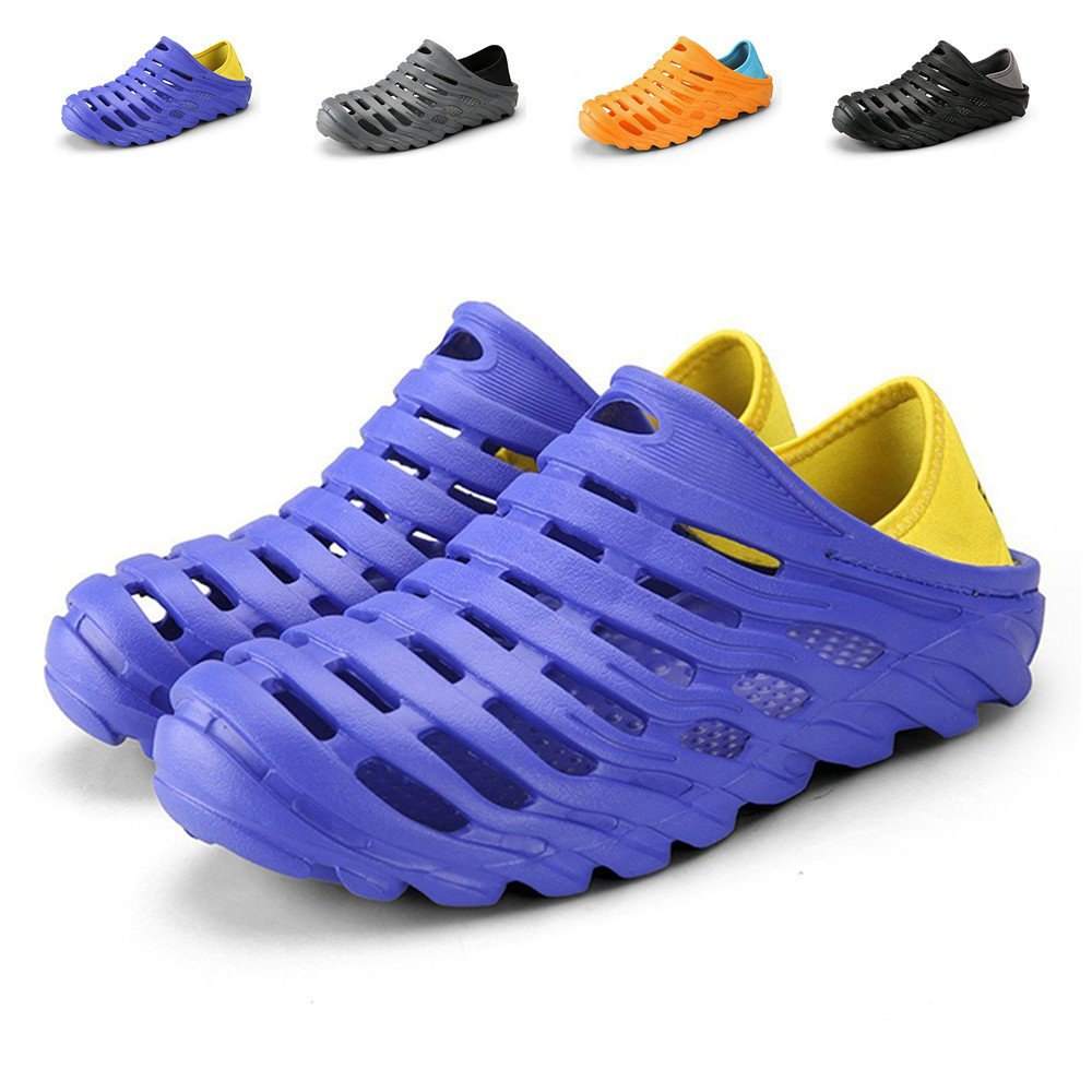Kqpoinw Summer Unisex Garden Clogs Walking Slippers Lightweight Breathable Sandals Anti-Slip Quick Drying Beach Water Shoes ((Men)10.5 US/45 EU=10.83'', Blue)