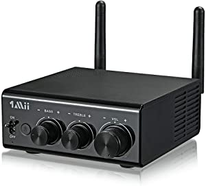 1Mii 2020 Bluetooth Digital Amplifier, HiFi Bluetooth 5.0 Audio Amplifier Receiver HD RCA/AUX/Opt/Coaxial Speakers 50Wx2 Bass&Treble Control for Home Stereo System (with Power Supply)