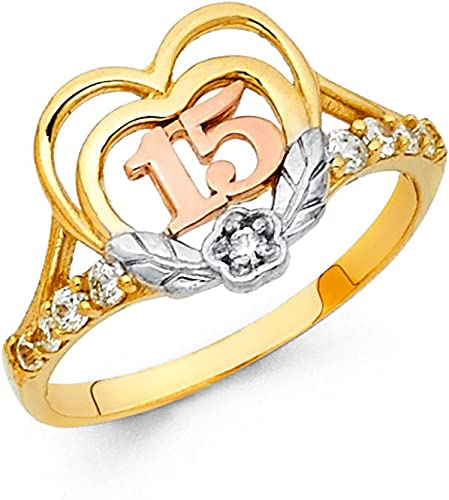 Sonia Jewels 14k Yellow White and Rose Three Color Gold Ring Cubic Zirconia CZ Mens Anniversary Wedding Band