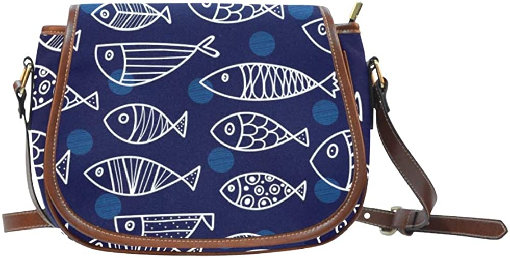 Watercolor Fish Painted Teen Crossbody Bags Flap With Magnetic Snap Printed Work Shoulder Bag Teen Shoulder Bag