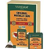 ORGANIC Masala Chai Tea Bags (100 TEA BAGS)   100% REAL & NATURAL SPICES - Cardamom + Cinnamon + Black Pepper, Cloves   Chai