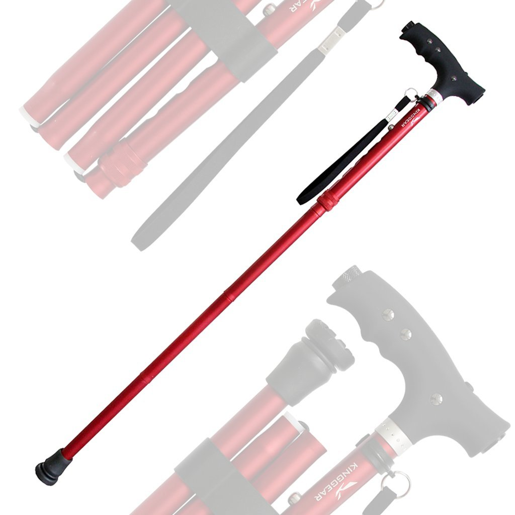KingGear Travel Adjustable Folding Canes and Walking Sticks for Men and Women - Led Light and Easy Grip Handle for Arthritis Seniors Disabled and Elderly - Best Mobility Aids Cane (Red K5)