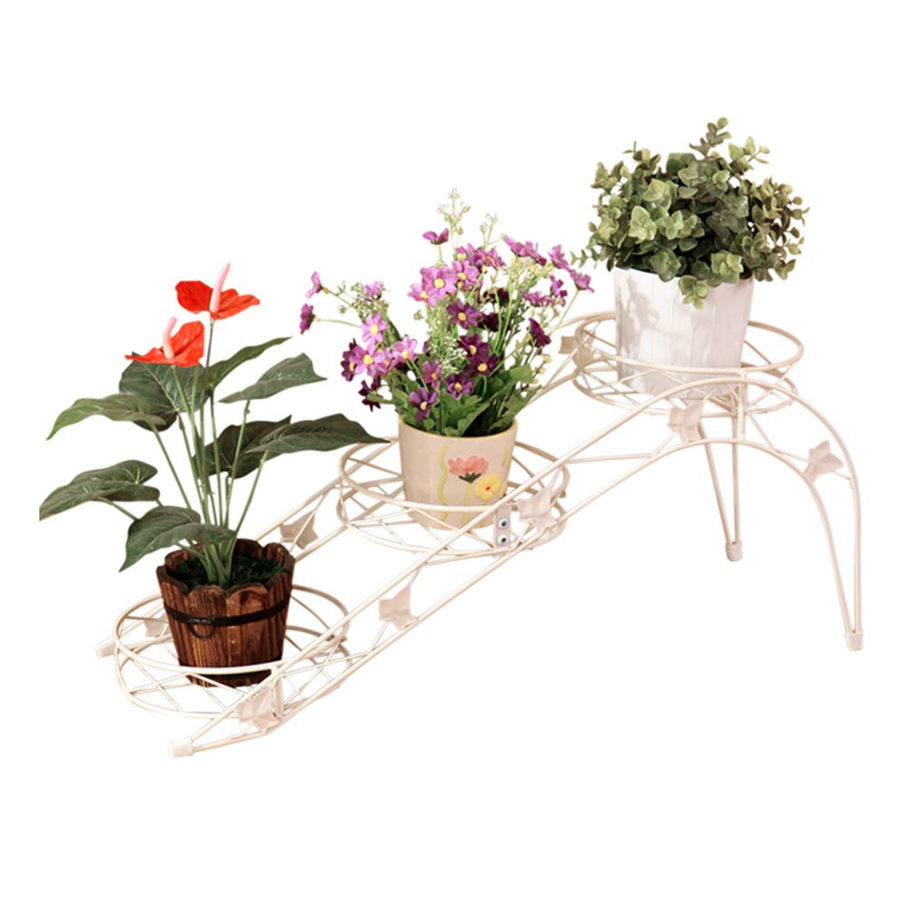 LJHA huajia Flower Stand, European-Style Wrought Iron Arts Trapezoid Floor-Standing Living Room with White Flower Pot Holder (Size : 65.52426.5cm) by GYH Flower stand