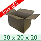 """5 x Large Strong Removal Cardboard Boxes - Double Wall - 30"""" x 20"""" x 20"""" / 762mm x 508mm x 508mm"""