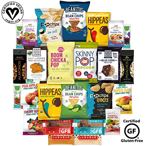 Vegan and Gluten Free Healthy Snacks, Mixed Premium Set of Snacks Includes Nuts, Snack Bars and (25 Count) (1 Pack)