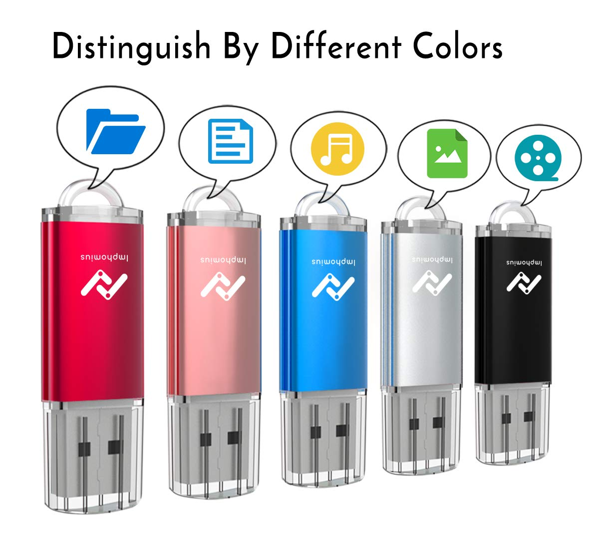 Flash Drives 16GB 10 Pack in Bulk USB 2.0 Thumb Drive 16 GB Jump Drive Memory Drive Zip Drive with LED Light for Storage by Imphomius 10Pack,Multicoloured