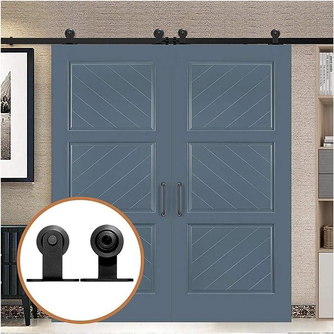 15.5FT/472cm Herraje para Puerta Corredera Kit de Accesorios para Puertas Correderas para Puertas Dobles,Negro T-Forma: Amazon.es: Bricolaje y herramientas