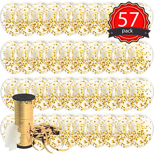 Decopom Gold Confetti Balloons Curling Ribbon - Roll & Flower Clips 57 Pack | Premium 12 Inch Latex Party Balloons - Filled Round Golden Mylar Foil Dot Confetti Birthday, Wedding, Proposal