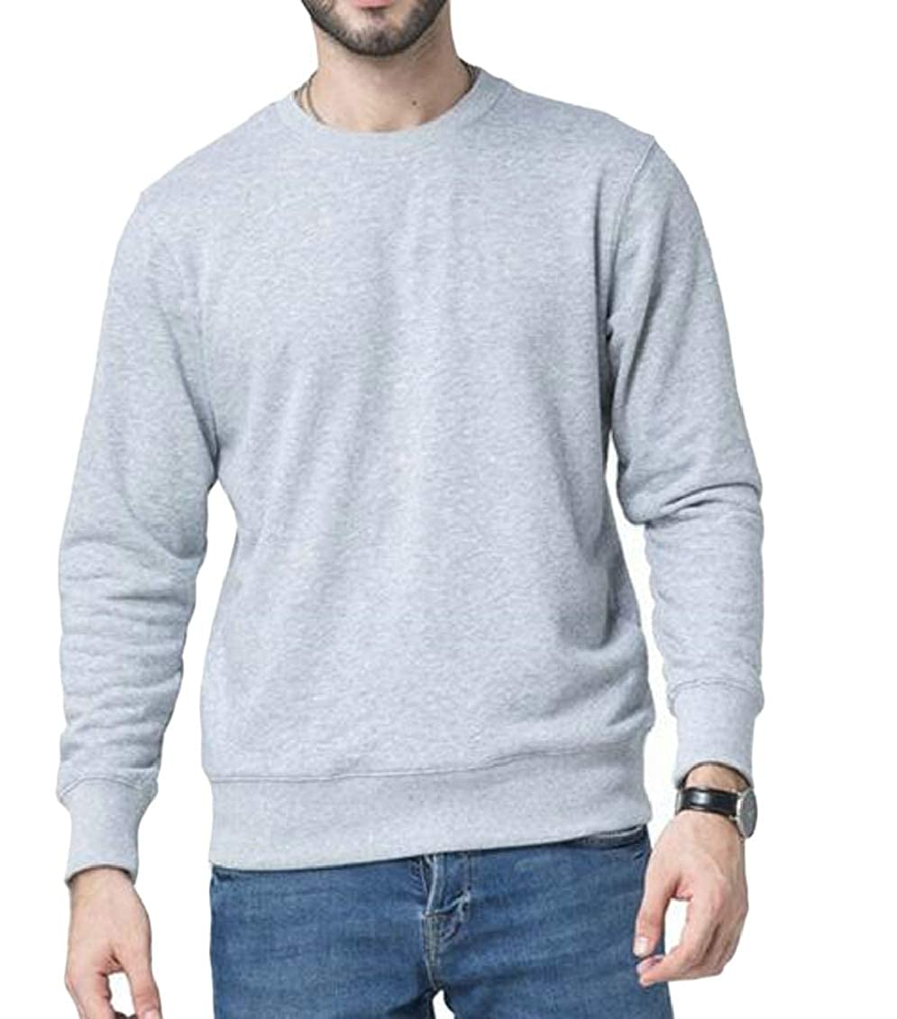Sweatwater Mens Casual Sweatshirts Round Neck Pullover Long Sleeve Tops T-Shirt