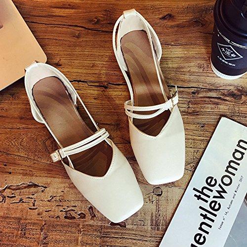 Cabeza Con Estudiantes Zapatos Los Solo De Luz Zapatos Suaves Con GAOLIM Primavera Beige Zapatos Cruz Hermana Cuadrada De Verano Sandalias Mujer Y Expuestos 8TnPRqx0