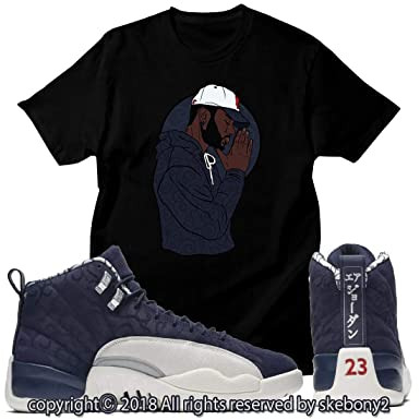 da607e851c42b Custom T Shirt Matching Style of Air Jordan 12 International Flight College  Navy JD 12-8-25