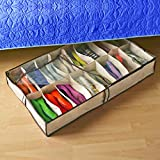 Zuitcase Under the Bed Shoe Storage Organizer with Zippered Clear Cover (Holds 12 Pair)