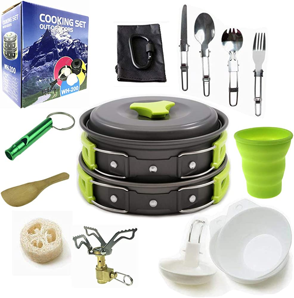 Camping Cookware Mess Kit with Folding Camping Stove, Non-Stick Lightweight Pots Pan Set Backpack Cooking kit.