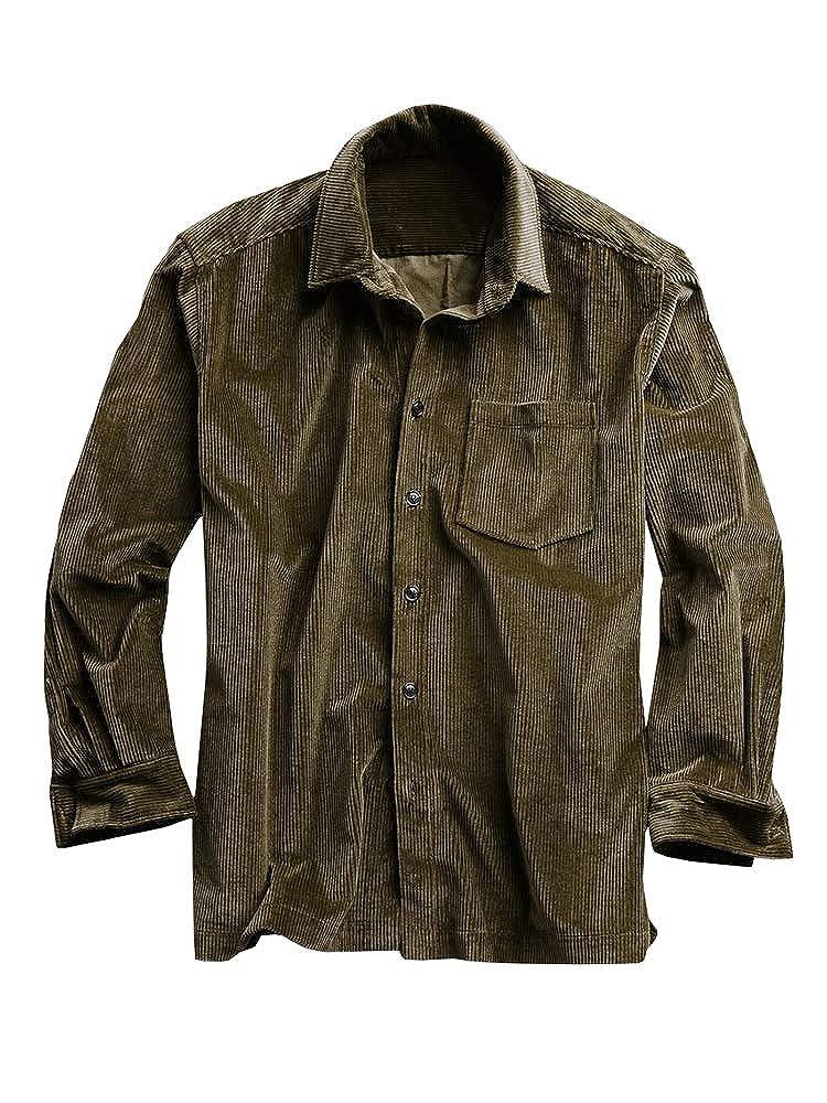 Mens Corduroy Button Down Shirt Rib Long Sleeve Standard Collar