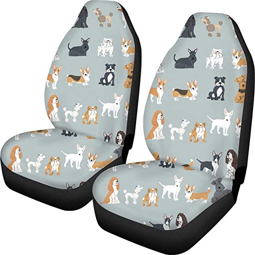 Fun Animal Dogs Print Front Bucket Car Seat Covers for Detachable and Non Detachable Headrests Auto