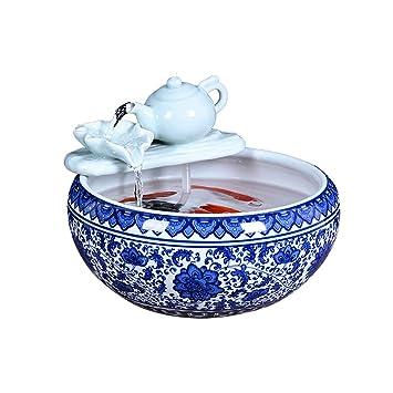 Acuario Sala de Estar Cascada Agua de Escritorio Tanque de Peces de cerámica, Cuenco de