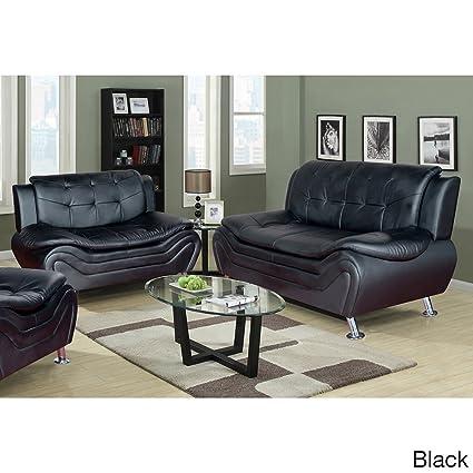 Fine Amazon Com Us Furnishing Express Ellena Faux Black Red Dailytribune Chair Design For Home Dailytribuneorg