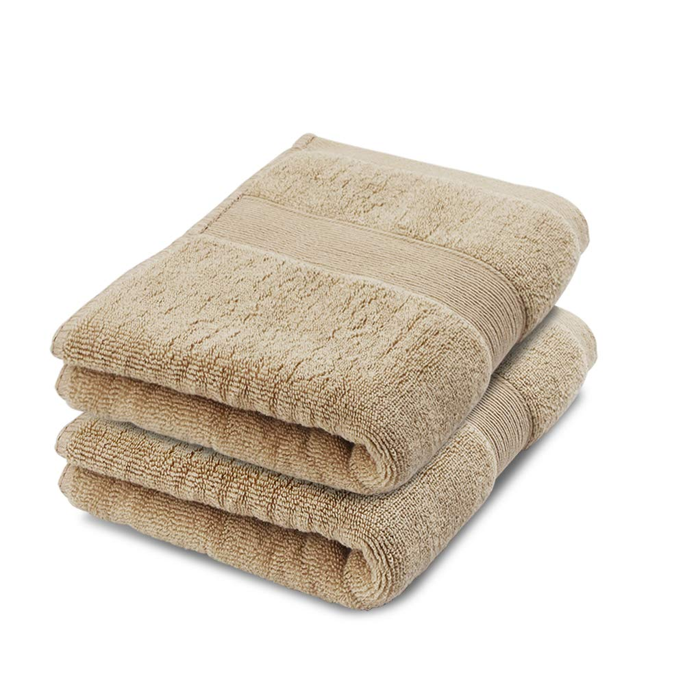 Hand Towel Face Towel Set 100% Cotton High Absorbent Facial Cleansing Towel Washcloths Size 13''x29'' 2 Pack Brown Color
