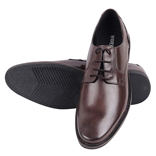 0322cd52fe9c WORWIK Men s Milled Leather Formal Lace-Up Shoes-Charles  Amazon.in ...