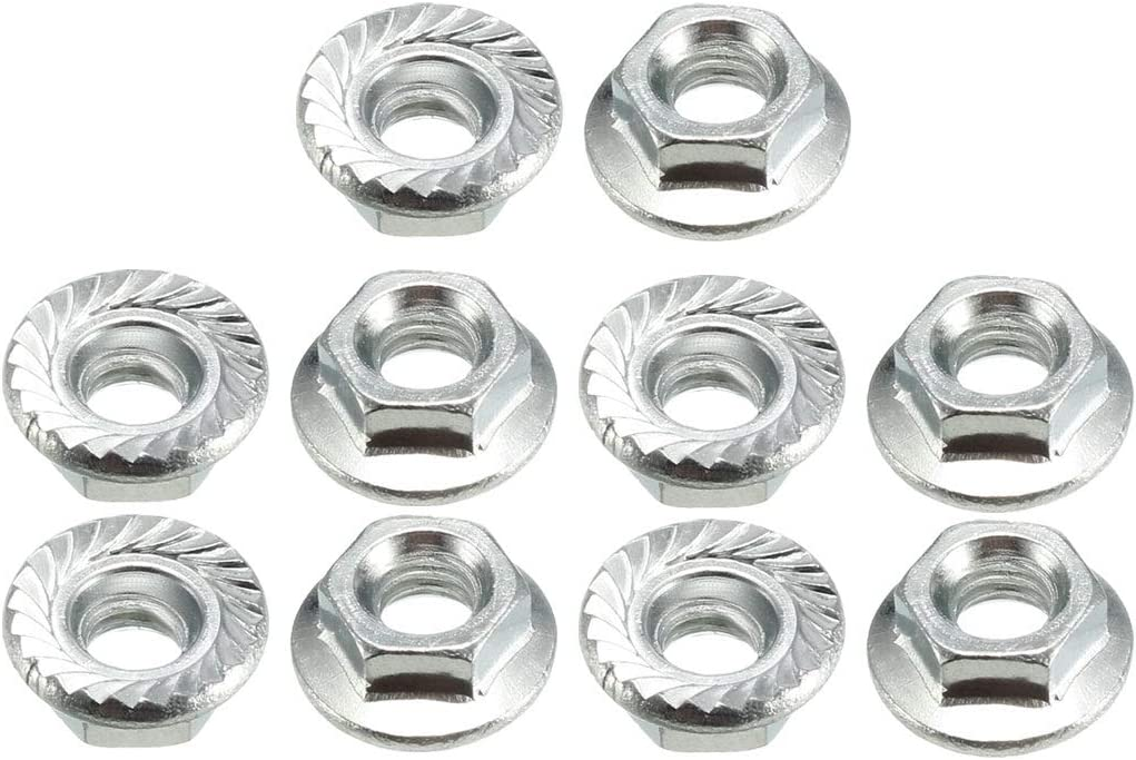 316 Stainless Steel uxcell M4 Serrated Flange Hex Lock Nuts 10 Pcs