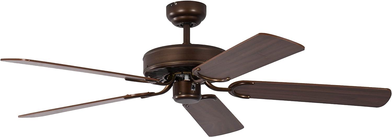 Pepeo Potkuri ventilador de techo sin luz, carcasa de bronce viejo, aspas reversibles color nogal con insertos de ratán, 132 cm, para habitaciones de hasta 25 m²