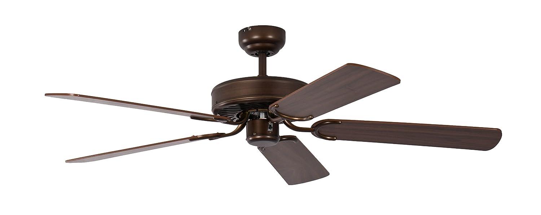Pepeo Potkuri ventilador de techo sin luz, carcasa de bronce viejo, aspas reversibles color nogal con insertos de ratán, 132 cm, para habitaciones de ...