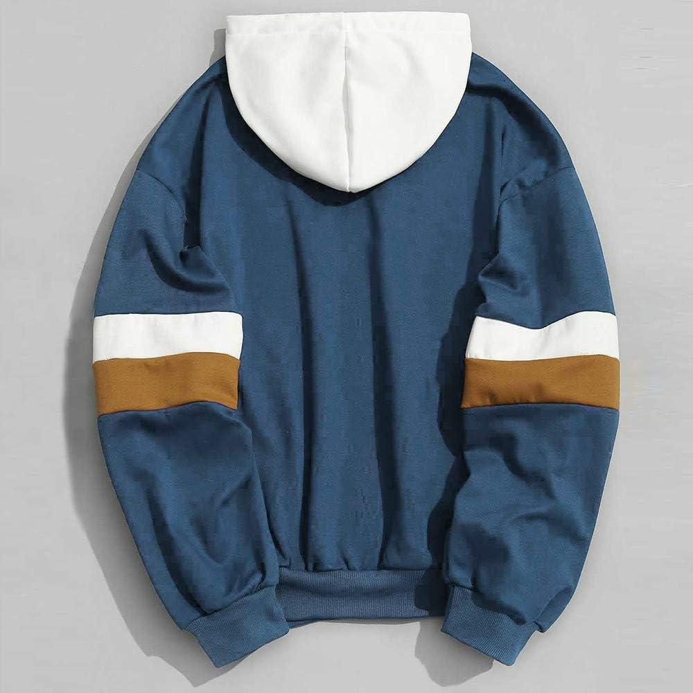 Mens Hoodie,Mens Patchwork Slim Fit Hoodie Outwear Sweatshirt,Hoodies for Teen Boys