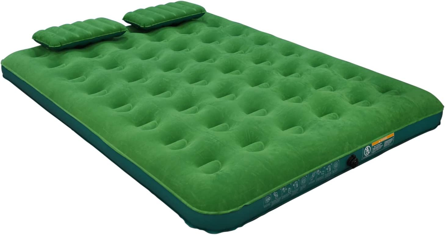 Simpli Comfy Queen Air Mattress Portable Blow Up Air Bed with Battery Pump and Two Pillows for Comfortable Sleep at Home, Travel or Camping