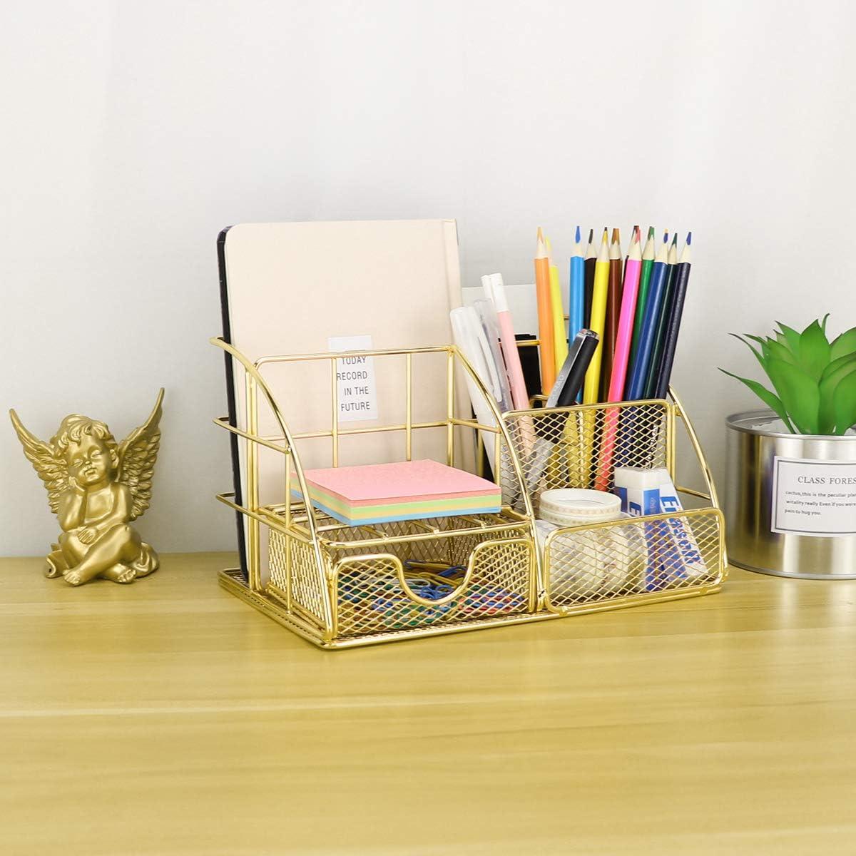 organiseur de papier et tiroir de bureau dor/é porte-stylo Morigem Organiseur de bureau avec organiseur de courrier