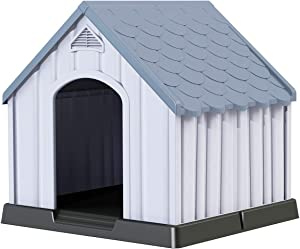 Giantex Plastic Dog House for Small Medium Large Sized Dogs, Waterproof Ventilated Pet Kennel with Elevated Floor for Indoor Outdoor, Easy to Assemble, All Weather Pet Dog House Puppy Shelter