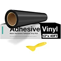 "Black Permanent Vinyl, Black Adhesive Vinyl for Cricut - 12"" x 40 FT Black Vinyl Roll for Cricut, Silhouette, Cameo…"