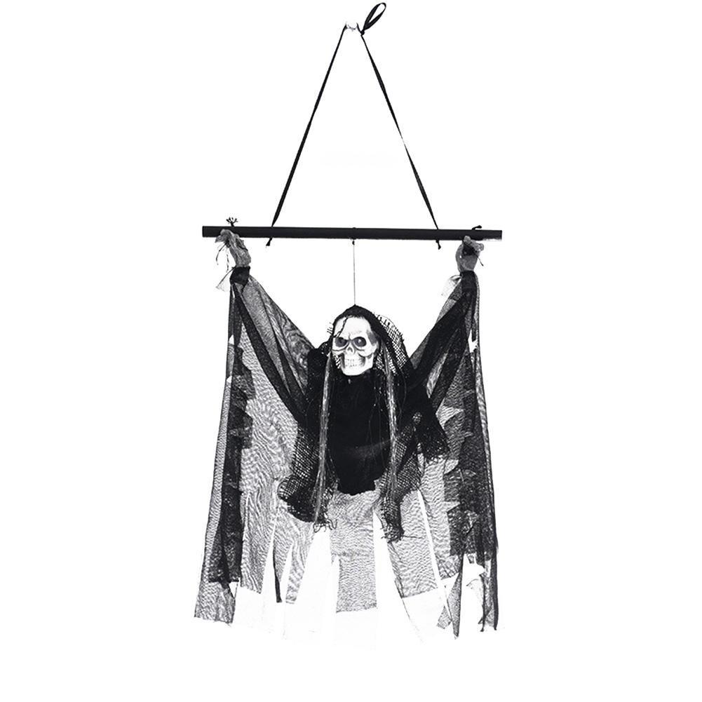Fiveschoice Fantasmi di lino di Halloween induzione elettrica fantasmi orrore puntelli casa stregata bar decorazioni KTV luminoso scheletro ciondolo piccolo appendere fantasma