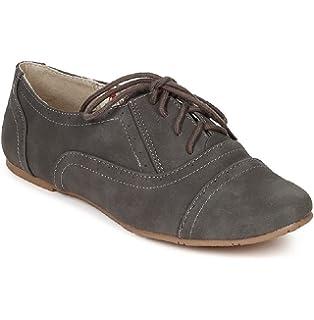 b50f5ace6a Amazon.com | Delias Women's Lace-up Wingtip Oxford Ballet Flat Shoe ...